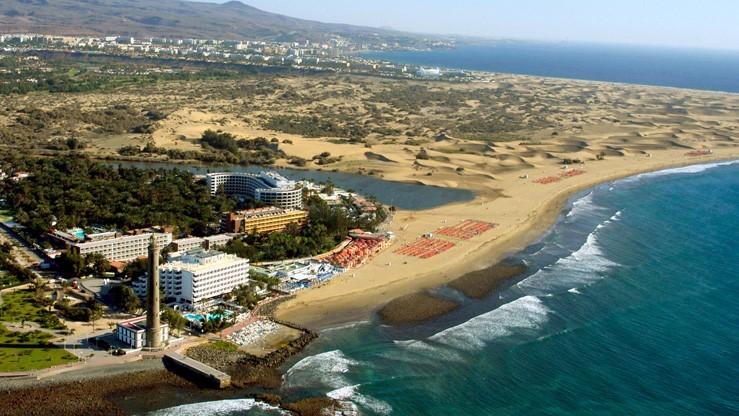 Вид на пляж Маспаломаса и дюны с высоты