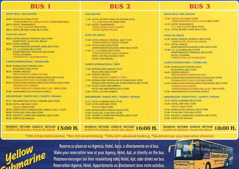 Расписание желтых автобусов и места сбора туристов, желающих попасть на подводную лодку
