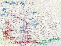 Карта маршрутов движения туристического автобуса в Барселоне