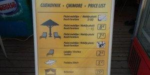 Стоимость на лежаки и зонтики