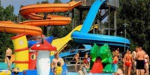 Горки в пляжном аквапарке Вентспилса