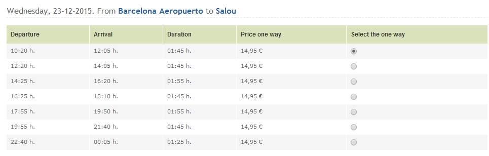 Расписание автобусов в Салоу из аэропорта Барселоны