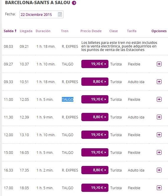Расписание поездов Барселона - Салоу