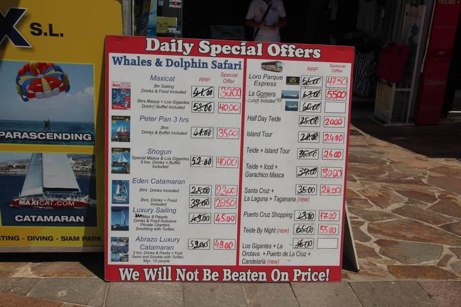 Стоимость экскурсий в Коста Адехе