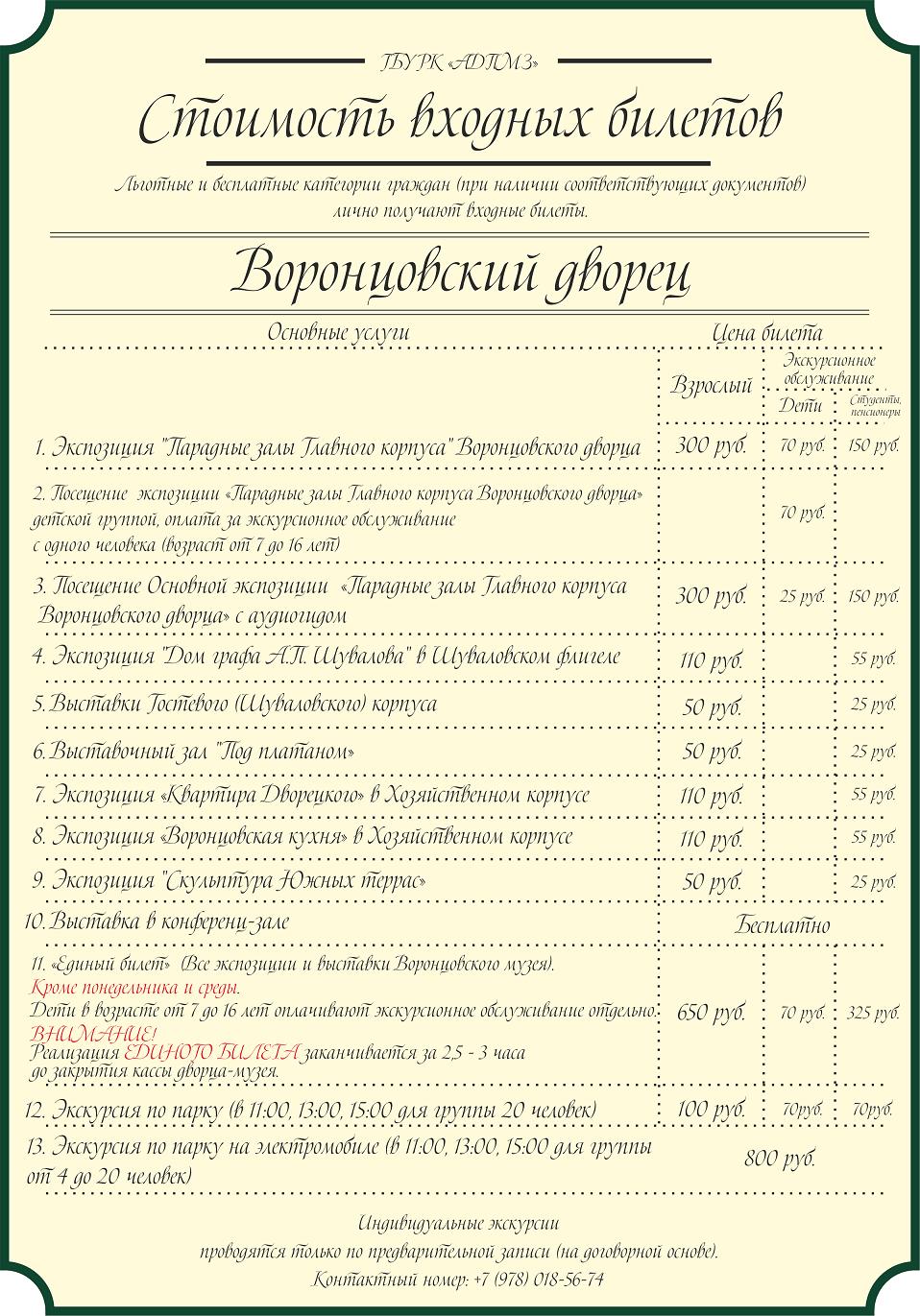 Воронцовский дворец: стоимость билетов