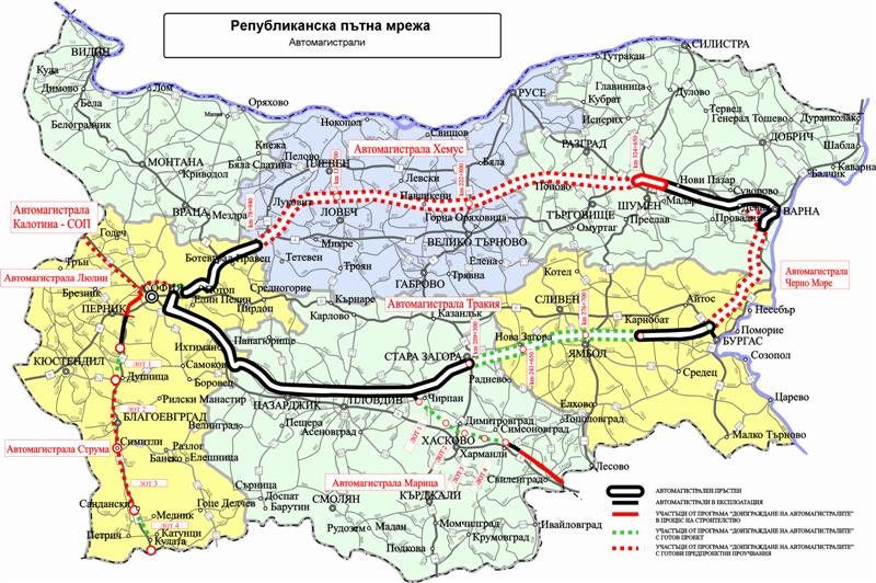 Карта платных дорог в Болгарии