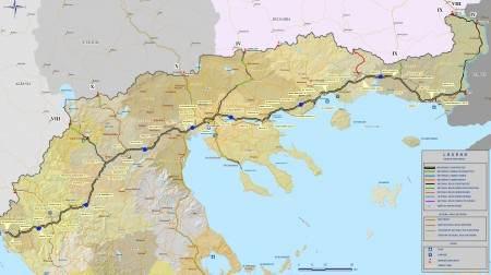 Карта платных дорог на материке Греции