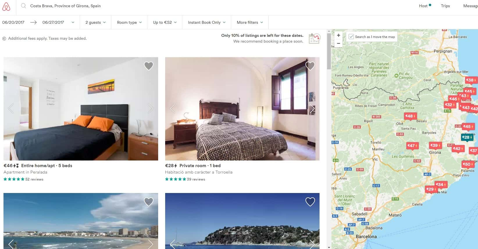 Сайт Airbnb - страница поиска