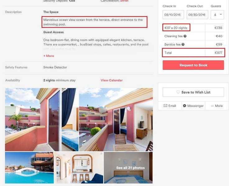 Скриншот апартаментов на Тенерифе через AIrbnb