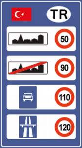 Правила дорожного движения. Ограничения скорости в Турции
