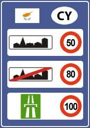 Ограничения скорости на Кипре