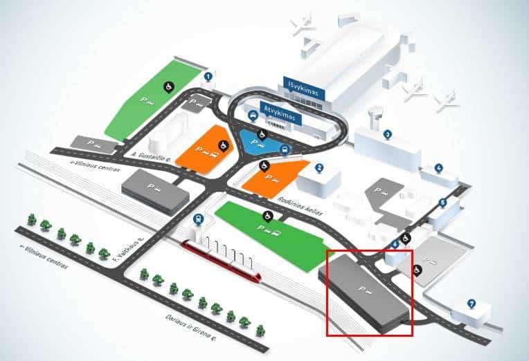 Зоны паркинга в аэропорту Вильнюса
