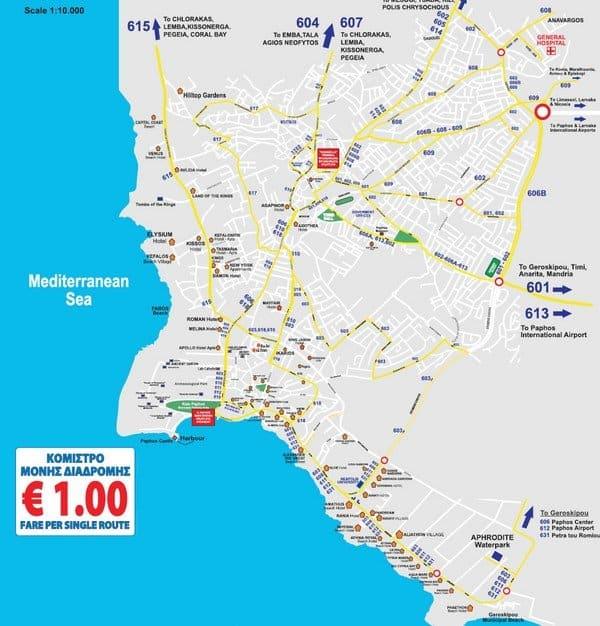 Карта автобусных маршрутов в Пафосе