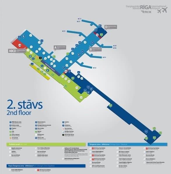 Рижский аэропорт: план второго этажа