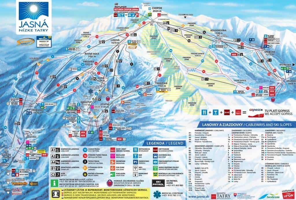 Карта горнолыжных маршрутов в Ясна (Словакия)