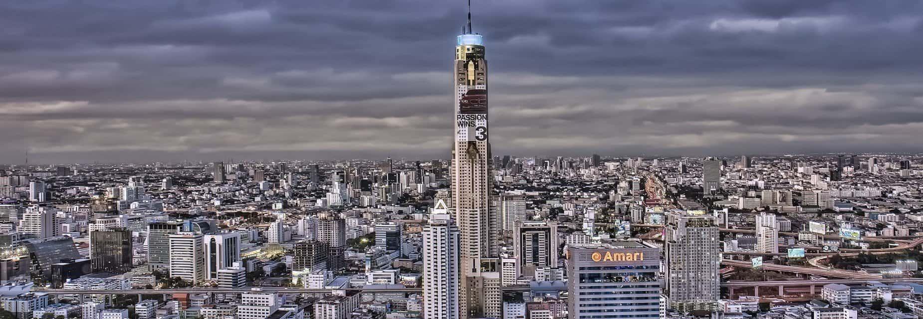 Вид на город и отель