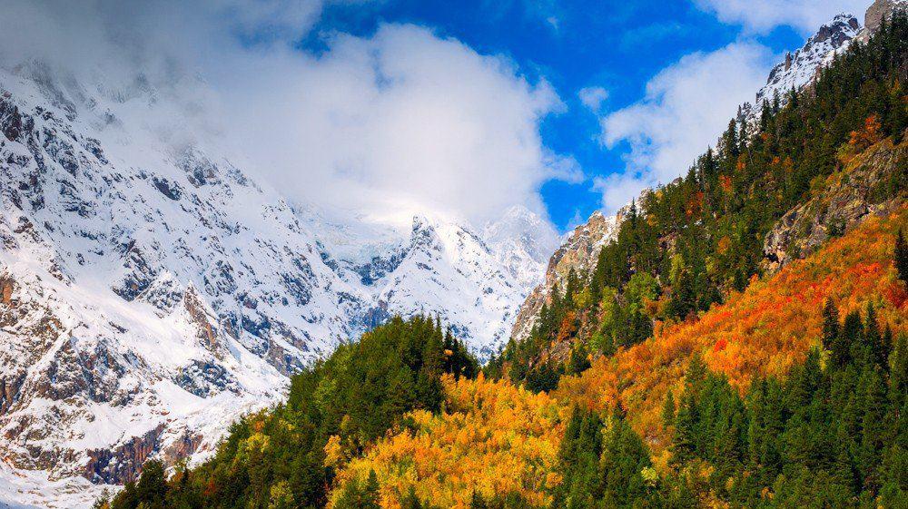 Сванетия после первого снегопада в горах