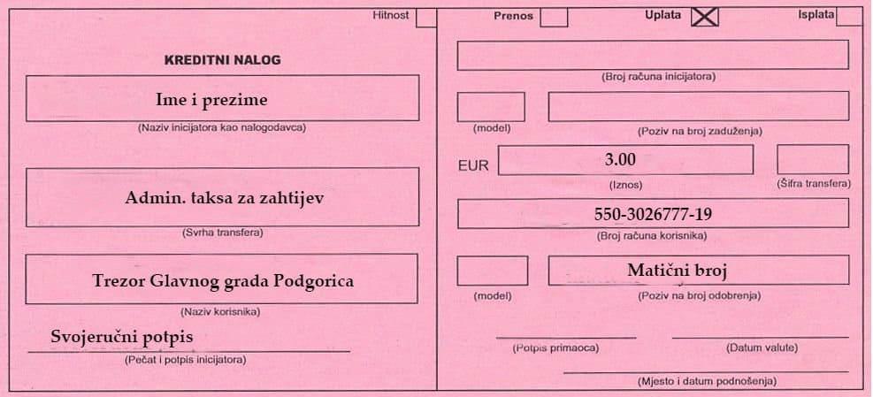 Регистрационный бланк в Черногории