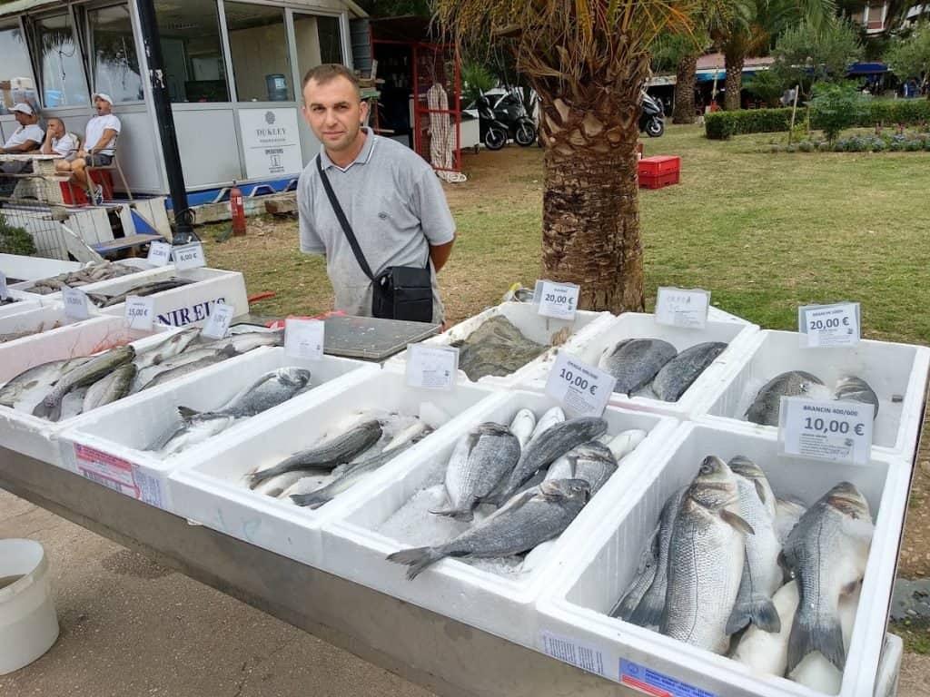 Стоимость рыбы в порту Будвы