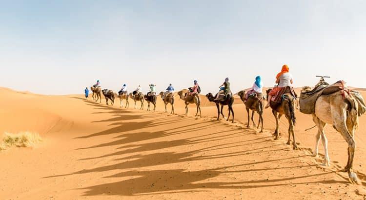 Караван туристов на экскурсии по Сахаре в Тунисе