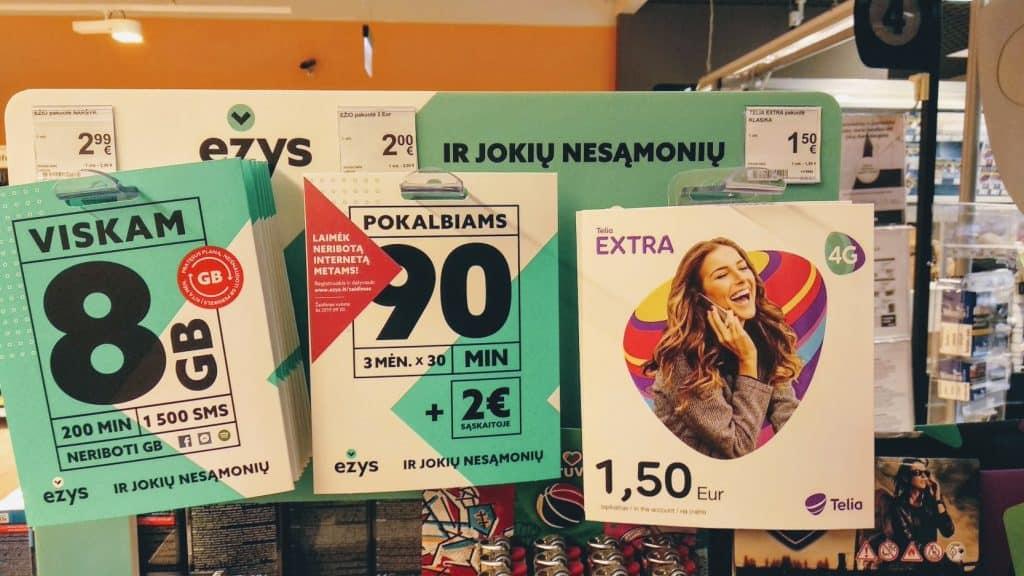 Базовые пакеты с сим картами в Литве