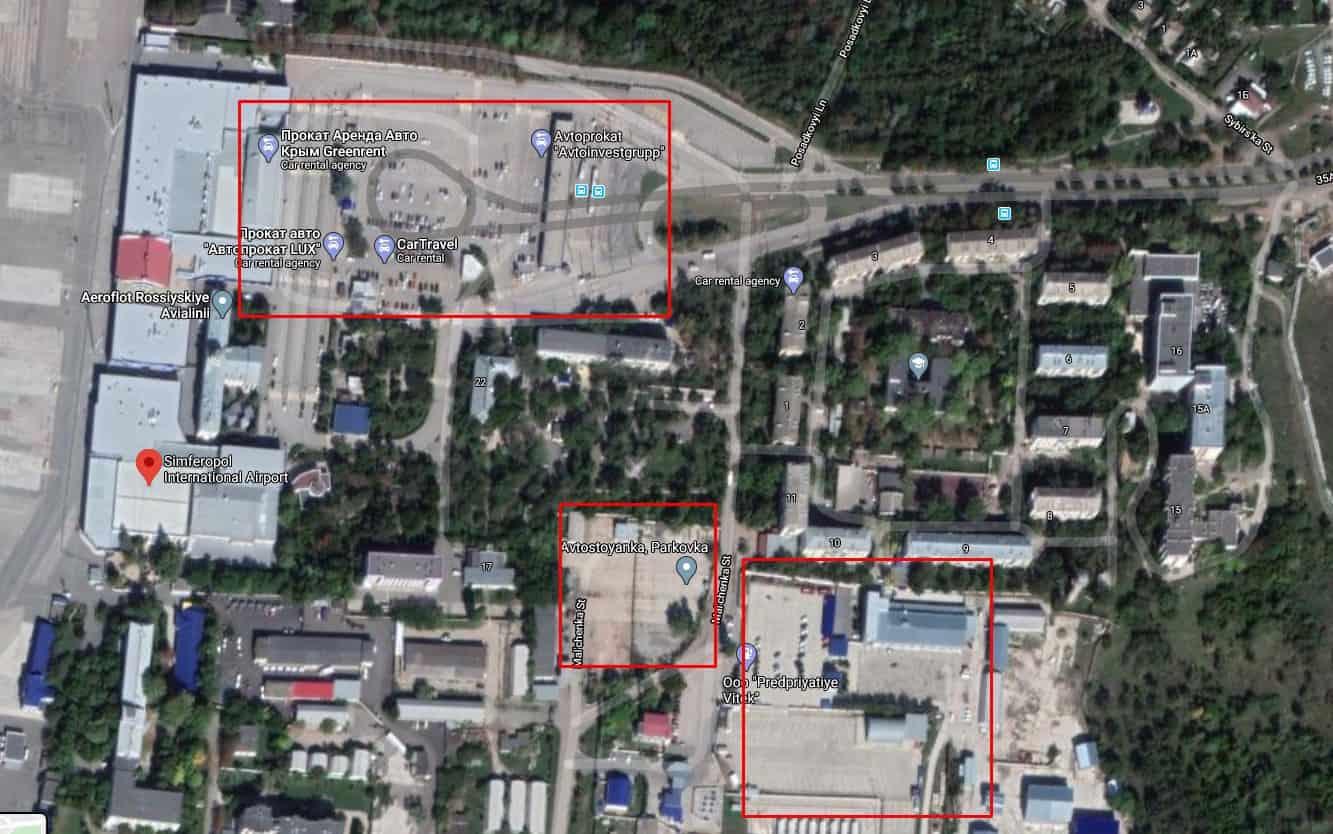 Карта стоянок в аэропорту Симферополя